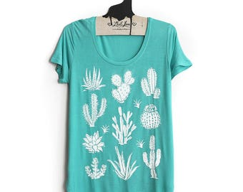 SALE Small- Light Teal Scoop Neck Slub Tee with Cactus Screen Print