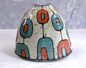 Medium Oval Vase in Retro Turquoise and Orange
