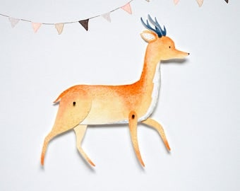 Deer Articulated Paper Doll Printable Instant Download PDF