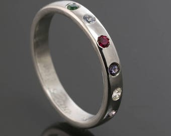Mother's Ring / Grandmother's Ring / Family Ring. 6 Birthstones. Man Made Gemstone. Sterling Silver. Lab Created Stone.