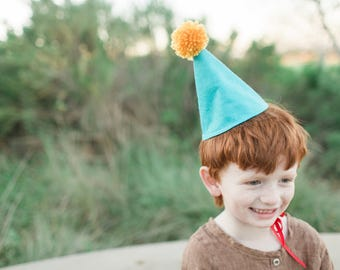 Felt Party Hat / Pom Pom Hat / Birthday Party Cone Hat / Cake Smash / First Birthday Party /  Teal & Mustard