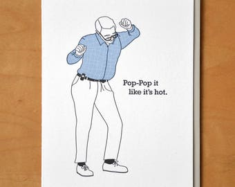 Pop-Pop It - Father's Day - Letterpress Card
