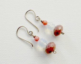 Pink and White Handcrafted Beaded Earrings