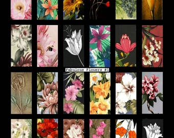 Fabulous Flowers No. 1 - 1x2 - Digital Collage Sheet - Instant Download