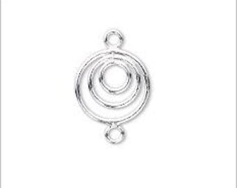 Dainty Sterling Silver Triple Ring Link 10mm 1 pc