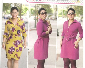Simplicity 8221 Size 20w, 24w, 26w, 28w Plus size pattern: Button Front dress in two lengths with yoke, collar, long sleeves, Mimi G Style