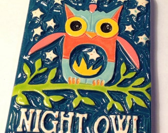 Night Owl Ceramic Art Tile