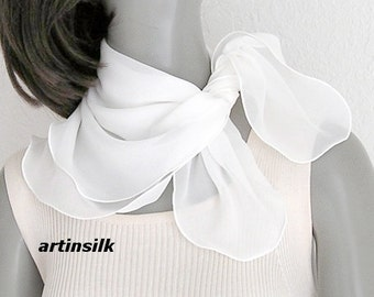 Small White Scarf Square Neck Scarf, Petite White Scarf, Pure Silk Chiffon Natural white, choose size 21x21 22x22 23x23 24x24, Artinsilk