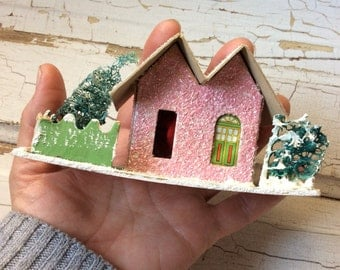 Vintage Mica Glitter Putz House,Pink and White,Coconut Glitter House,Christmas Village,Vintage Christmas,
