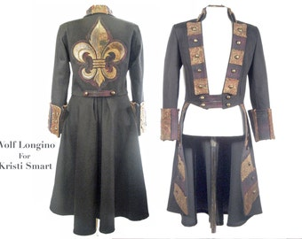 Anime steampunk pirate coat with fleur de lis