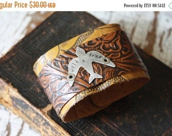 SALE- Stamped Leather Cuff-Free-Word Cuff-Personal Gift-Tooled Leather Cuff-Wild and Free