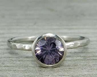 Purple Spinel Ring in Recycled 950 Palladium, Hammered, Bezel Setting, Solitaire, Ethically Sourced Gemstone, Ready to ship in a size 7