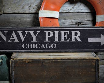Navy Pier Sign, Navy Pier Chicago, Sign Navy Pier, Wood Pier Sign, Navy Pier Decor, Pier Wall Sign - Rustic Hand Made Wooden Sign ENS1000917