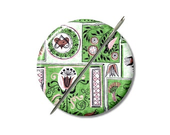 Green Retro Fabric Design needle minder magnet cross stitching sewing tool sewing notion wife gift under 10 stocking stuffer