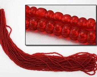 10/0 Transparent Ruby Czech Seed Bead (Hank) #CSF009