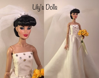 Silk Wedding gown for Fashion Royalty integrity doll, ITBE, Victoire Roux, Silkstone, doll clothes and accessories,OOAK doll fashions
