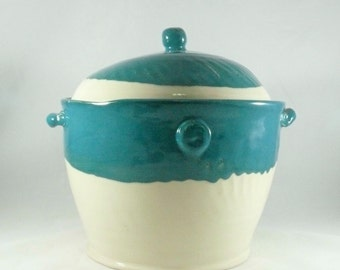 Ceramic Kitchen Canisters, Soup Tureen, Lidded Baking Dish Pet Food Container Soup Crock Pot Ceramic Deep Covered Dish Bean Pot Serving Bowl