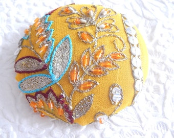 Mustard gold beaded embroidered  fabric covered button, size 100 button, 2.5 inches, 6.35 cm, 63.5mm