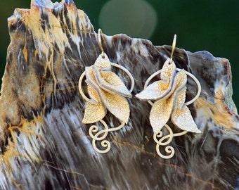 Leather Petals in Gold lambskin leather - Statement Earrings - dangle drop earrings with swirls and silk