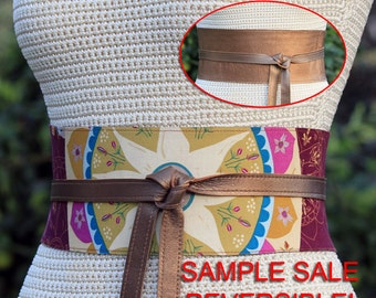 60% off CLEARANCE!!! Leather REVERSIBLE Bronze Pearl and Plum Perfect fabric pattern 4 inch wide sash belt -  Size Medium - obi belt, cinch