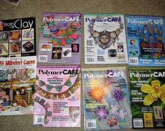 8 polymer clay magazines, books  6 Polymer Cafe and 2 Polymer clay books  36 Millefiori Canes and Images on Clay