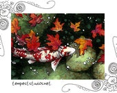 Maple Koi Pond ACEO 2.5x3.5 Limited Edition Print Mini Trading Card Art