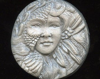 Polymer  Clay Metallic Silver  Highlighted Art Nouveau Goddess Cab  NANS 1