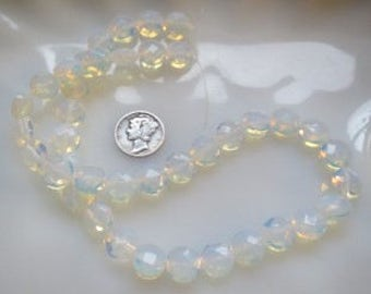 Opalite Sea Opal Faceted Coin Shaped Beads 10mm Half Strand