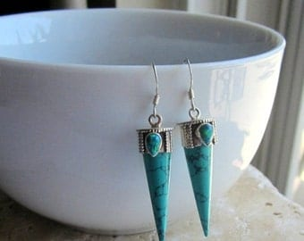 BlackFridaySale Turquoise Spike Earrings, Turquoise and Opal Earrings, Gemstone Earrings, Under 50, Turquoise Earrings,