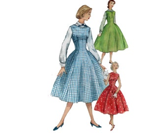 50s Corset Dress pattern Full Skirt Dress pattern vintage 31-25-34 Fit and Flare Dress pattern Blouse Jumper simplicity 1421