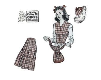 40s uncut Hat pattern Handbag pattern Fitted vest Pleated skirt Juliette cap vintage 31-24-34 Advance 3376