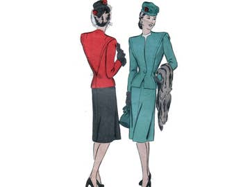 40s Suit pattern Big Shoulder Jacket pattern Peplum Jacket pattern Pencil Skirt pattern vintage 38-32-41 Hollywood 1677
