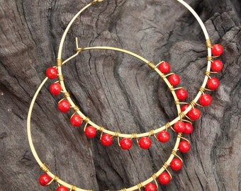 Red Coral Flower Hoop Earrings