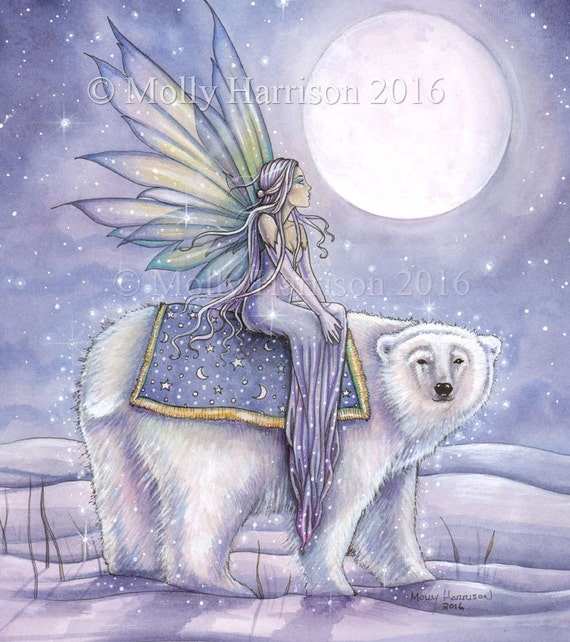 Moonlit Solstice - Original Watercolor and Mixed Media Painting by Molly Harrison - Fairy riding Polar Bear - Totem - Mystical - Winter