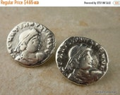 50% OFF Antique Silver Roman Coin Button - 17mm Coin - 2 pcs (G - 185)