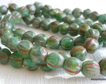 Melon Beads - 6mm Czech Glass Beads - Milky Aqua Picasso (GG - 12)