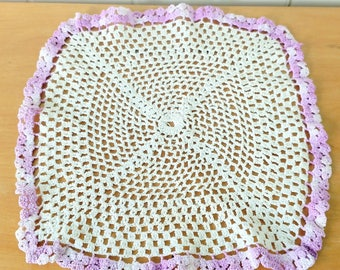 vintage crochet doily white purple