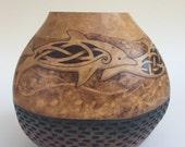 Celtic Dolphins pyrography wood burned carved Gourd vase