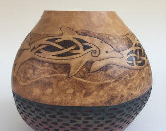 Celtic Dolphins pyrography wood burned carved Gourd vase
