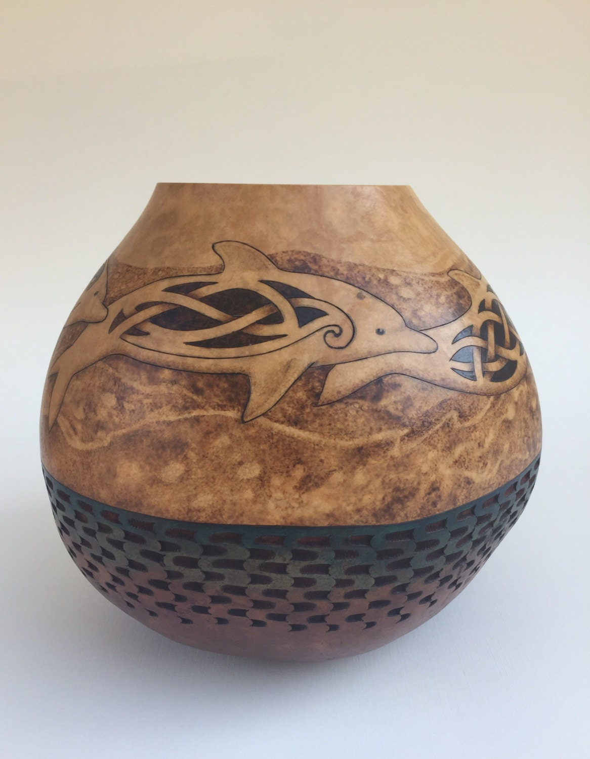 Dolphins pyrography wood burned carved gourd vase by