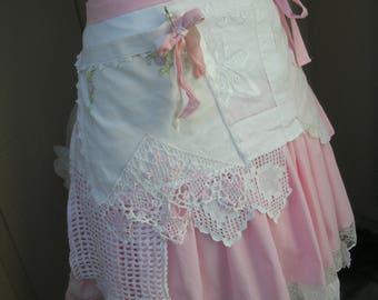 Womens Shabby Chic Aprons - Pink Lace Apron - Handmade Bridal Aprons - Vintage Linen Aprons - French Flea Market Apron - Annies Attic Aprons