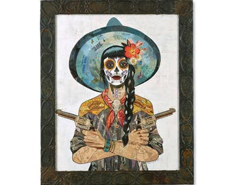 Vaquera Sudoeste Day of the Dead Cowgirl with Pistols Collage