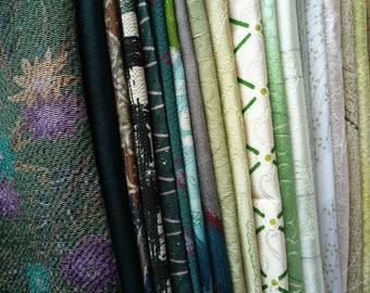 Kimono Scraps grab bag, Most Silk Japanese Fabric Remnant Set, Mix of Green Fabric Supply Handmade OOAK Supply