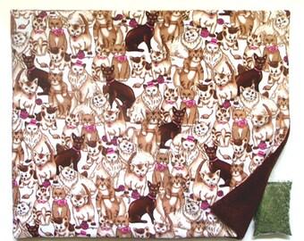 X Large Catnip Mat plus Catnip Colorful Cats Refillable Reversible