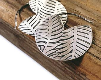Palm Hoop Earrings in Silver - Everyday Large Circle Hoop Earrings Handmade by Queens Metal