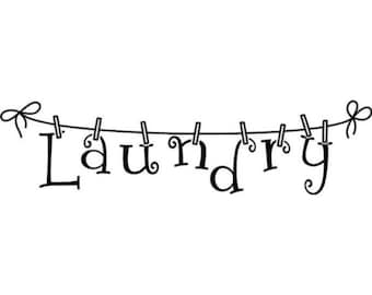 Laundry clothes line wall decal