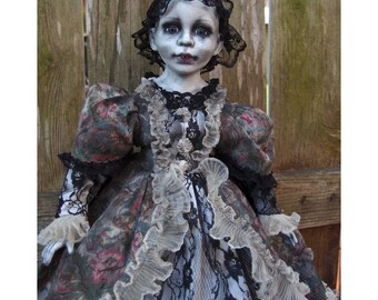 Miss Anti Belle M - Victorian Style Gothic Doll by Ugly Shyla OOAK - Creepy Doll - Victorian Doll - Ugly Art Dolls - Macabre - Oddity