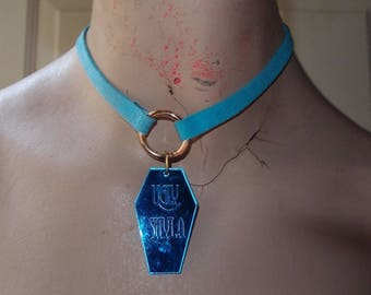 Faux Suede Pastel Blue Brass O Ring Choker With Coffin Charm by Ugly Shyla - Vegan Leather Suede - Pastel Goth - Gothic Jewelry - Necklace