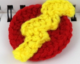 Crocheted Super Hero Lightning Bolt Patch - Red and Yellow