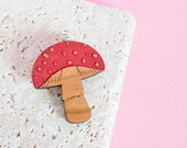 Mushroom brooch - mushroom jewellery - mushroom pin - nature jewellery - nature jewelry - mushroom gift - fun mushroom - red mushroom